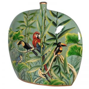 Hand Painted Jungle Design Slim Ceramic Vase