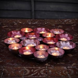 metallic pink multi candle holder tray