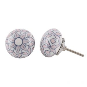 Pink and blue flower ceramic drawer pull