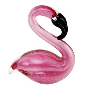kitsch Pink Flamingo Objets d'art Glass ornament