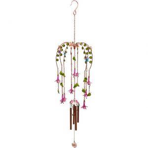 pretty fuchsia flower wind chime decoration