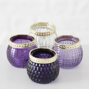 4 Purple Lilac & Clear Glass Tealight Pots
