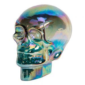 purple iridescent human skull glass ornament