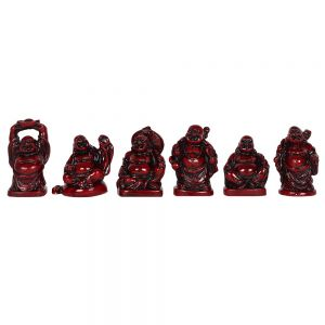 Set of 6 Laughing Chinese Buddha Figure