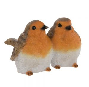 Two Sitting Red Robins