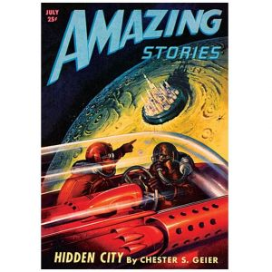 Retro science fiction poster of Hidden City by Amazing Stories book cover