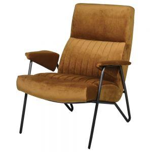 Retro Ochre Velvet Armchair