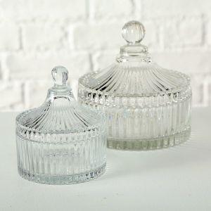 vintage glass trinket pot with lid