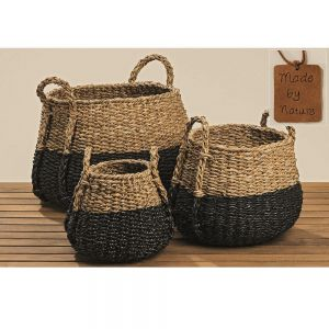 round seagrass natural & black set of 3 baskets