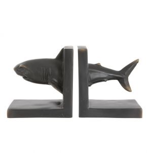 Heavy bronze effect shark bookend pair by London Ornaments stockist PurpleSunrise.com