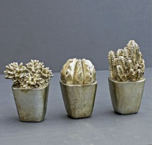 silver faux cactus in pot decoration