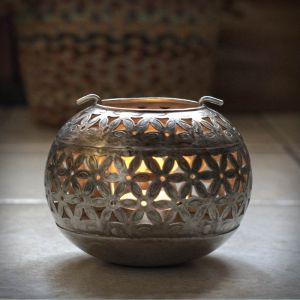 Punched Silver Bowl Candle Holder