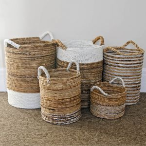 Set of 5 Round Natural Leaf Baskets