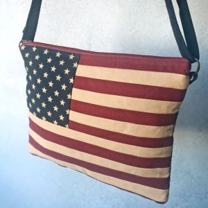 Old Glory stars & stripes iPad messenger shoulder bag in woven cotton at PurpleSunrise.com flags