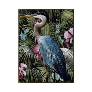 Stauesque Great Blue Heron Framed Painting