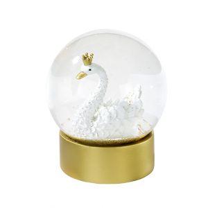 Gold & White Swan Snowglobe