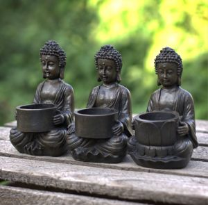 buddha figure tealight holder set 3