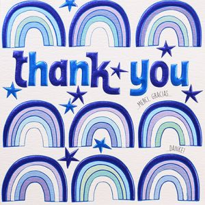 Blue rainbows thank you card by Wendy Jones Blackett online at PurpleSunrise home and gift Southend