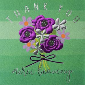 Thank you merci beaucoup card by Wendy Jones Blackett online at PurpleSunrise home and gift Southend