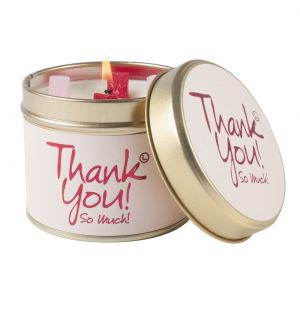 lily flame thank you scent candle tin