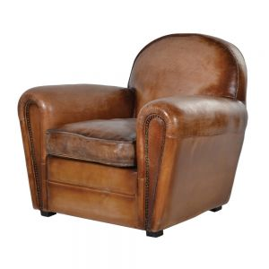 Vintage old brown leather Art Deco armchair from PurpleSunrise.com Southend home gift store