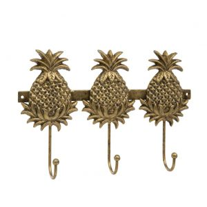 gold pineapple wall coat hook set 3