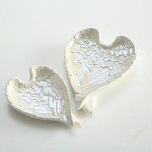 Two Pearly White Angel Wing Dishes