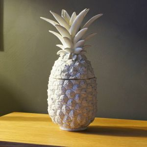 white pineapple storage jar