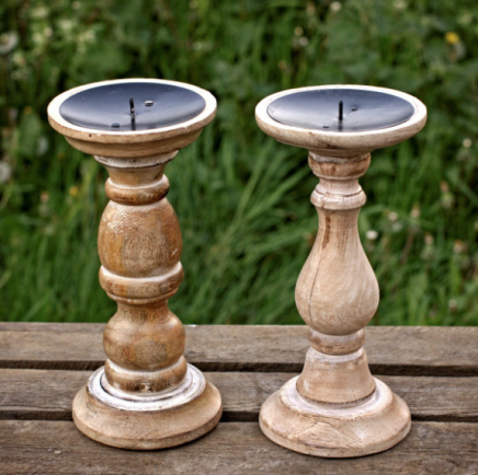 mango wood candle sticks