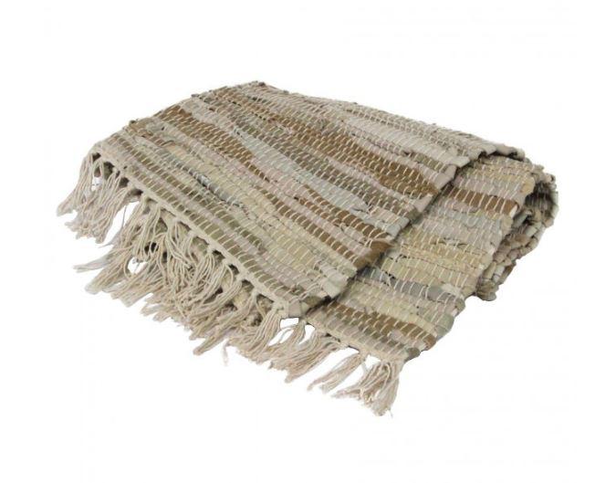 Large leather rag floor rug stone beige