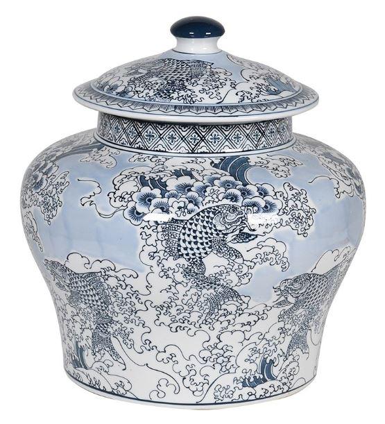 Chinese koi carp ceramic jar