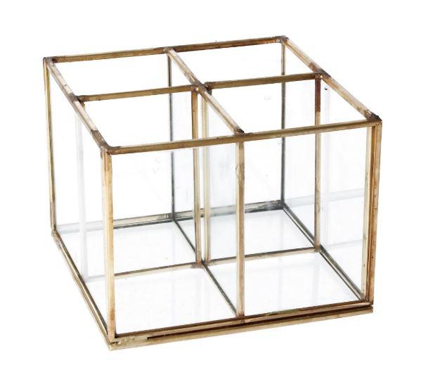 4 part glass organiser with brass edging