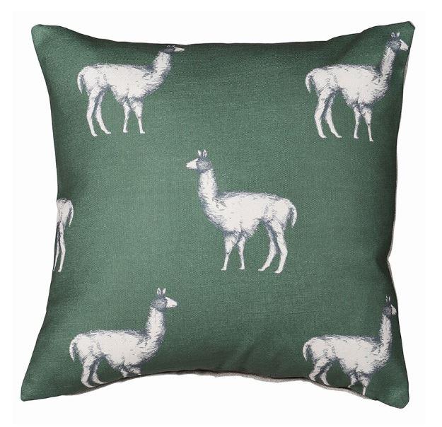 Green llama cushion cover